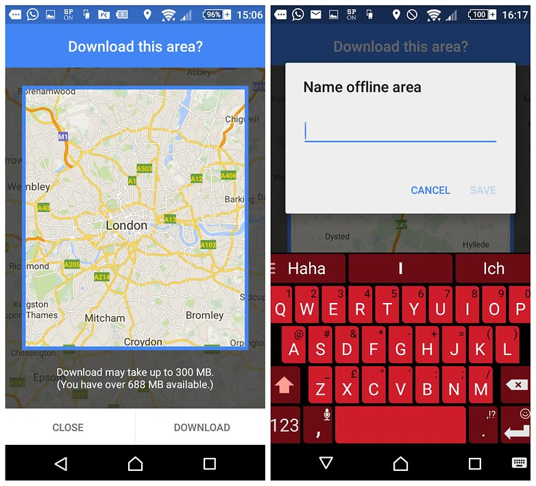 how to use google maps offline screen 2